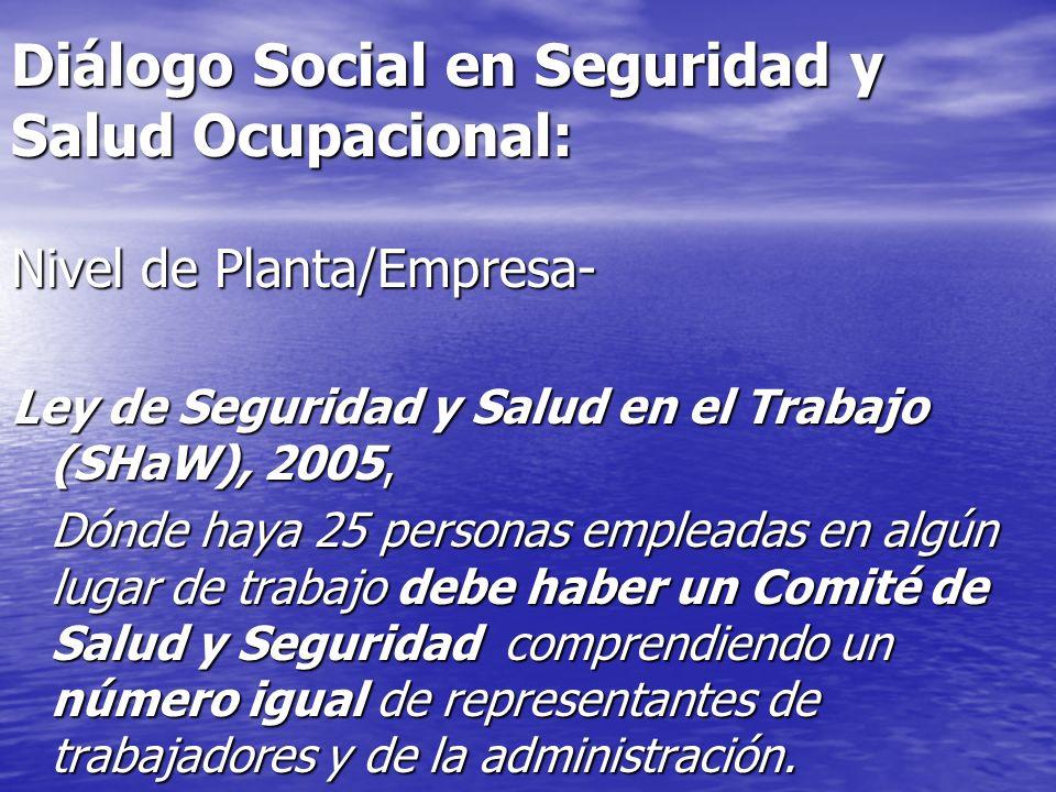 Diálogo Social en Seguridad y Salud Ocupacional: Nivel de Planta/Empresa- Ley de Seguridad y Salud en el Trabajo (SHaW), 2005, Dónde haya 25 personas