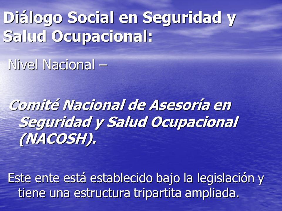 Diálogo Social en Seguridad y Salud Ocupacional: Nivel Nacional – Comité Nacional de Asesoría en Seguridad y Salud Ocupacional (NACOSH). Este ente est