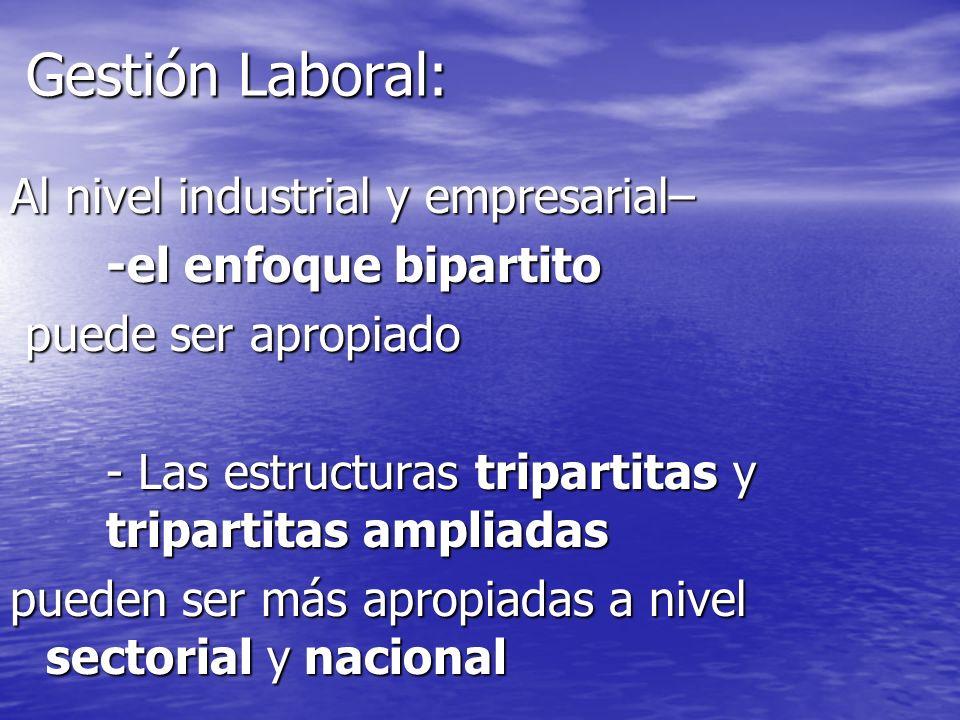 Gestión Laboral: Al nivel industrial y empresarial– -el enfoque bipartito puede ser apropiado puede ser apropiado - Las estructuras tripartitas y trip