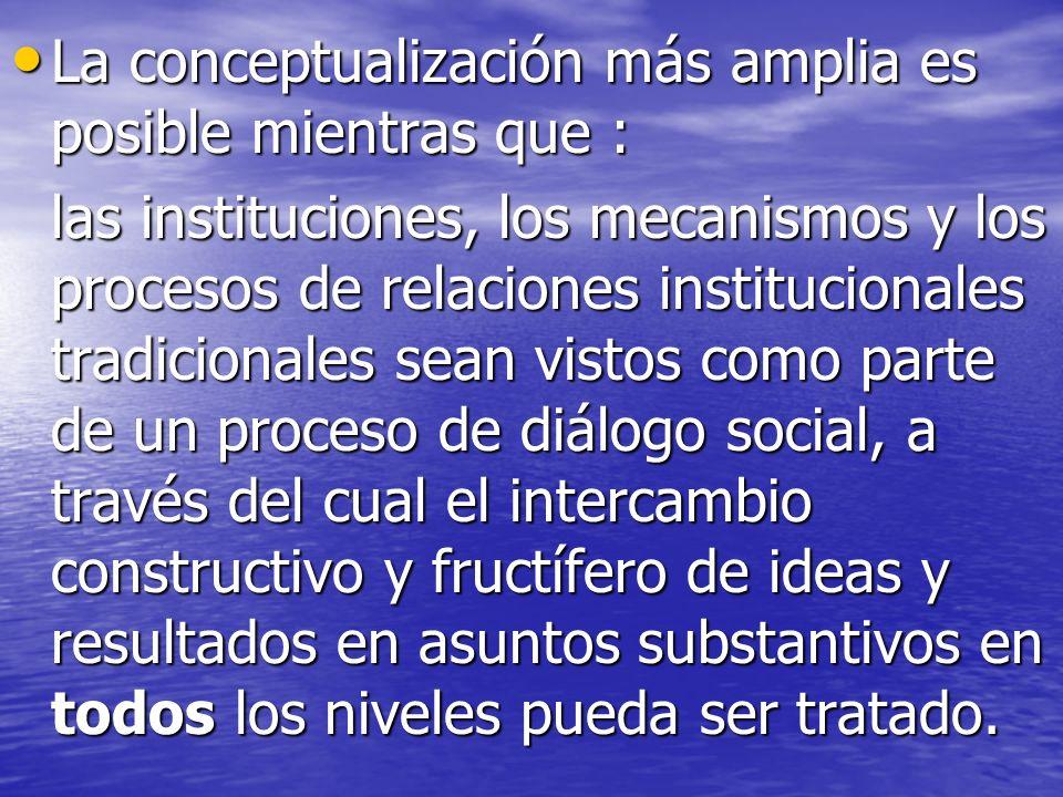 La conceptualización más amplia es posible mientras que : La conceptualización más amplia es posible mientras que : las instituciones, los mecanismos