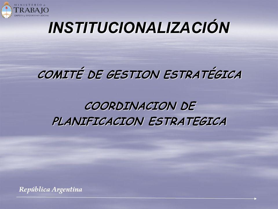 INSTITUCIONALIZACIÓN COMITÉ DE GESTION ESTRATÉGICA COORDINACION DE PLANIFICACION ESTRATEGICA República Argentina