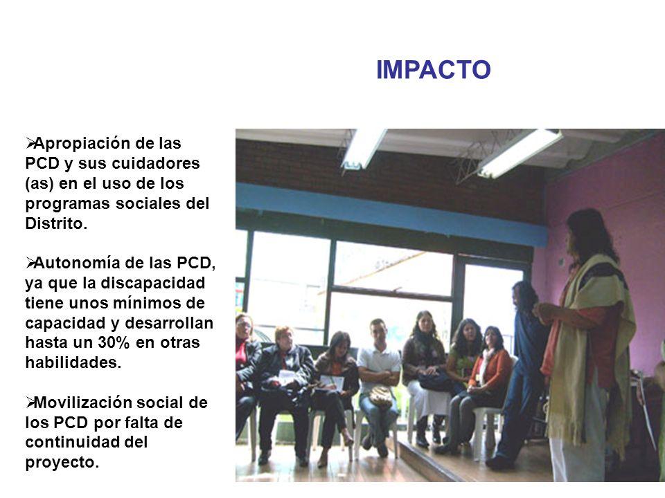 IMPACTO Apropiación de las PCD y sus cuidadores (as) en el uso de los programas sociales del Distrito.