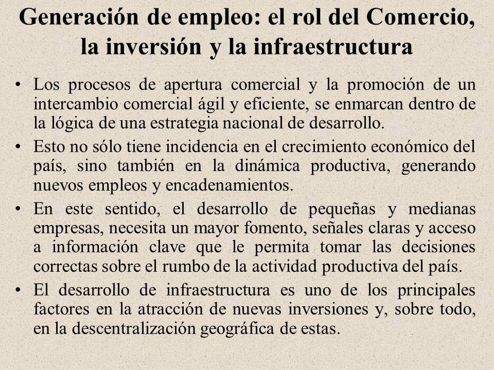 Generación de empleo: el rol del Comercio, la inversión y la infraestructura Los procesos de apertura comercial y la promoción de un intercambio comercial ágil y eficiente, se enmarcan dentro de la lógica de una estrategia nacional de desarrollo.