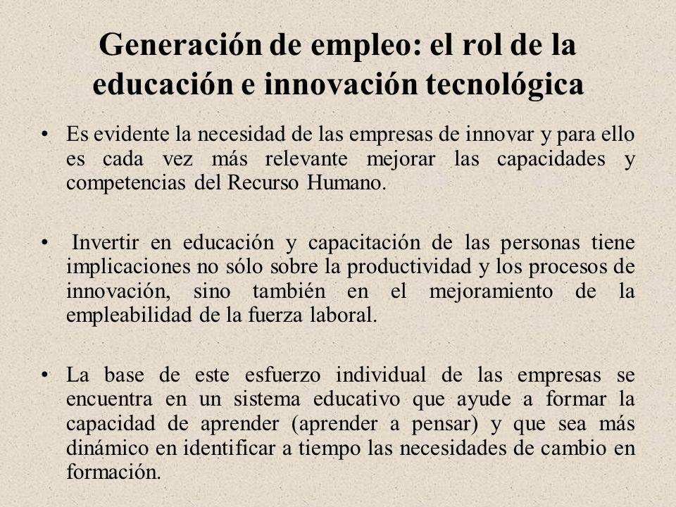 Generación de empleo: el rol de la educación e innovación tecnológica Es evidente la necesidad de las empresas de innovar y para ello es cada vez más relevante mejorar las capacidades y competencias del Recurso Humano.