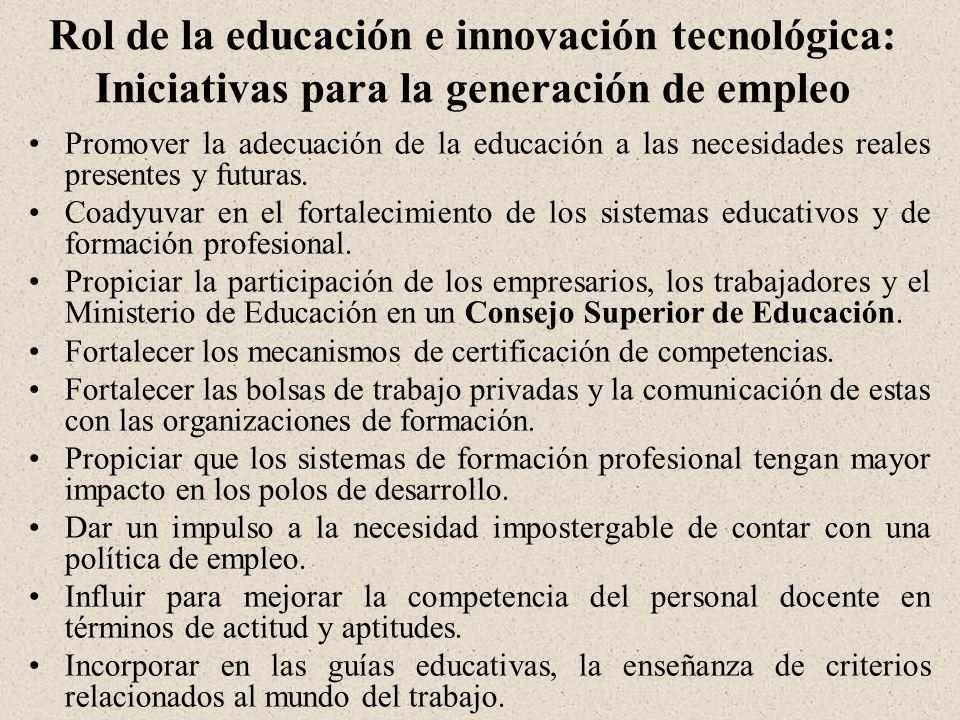 Rol de la educación e innovación tecnológica: Iniciativas para la generación de empleo Promover la adecuación de la educación a las necesidades reales presentes y futuras.