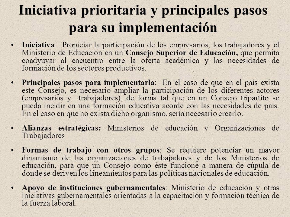 Iniciativa prioritaria y principales pasos para su implementación Iniciativa: Propiciar la participación de los empresarios, los trabajadores y el Ministerio de Educación en un Consejo Superior de Educación, que permita coadyuvar al encuentro entre la oferta académica y las necesidades de formación de los sectores productivos.