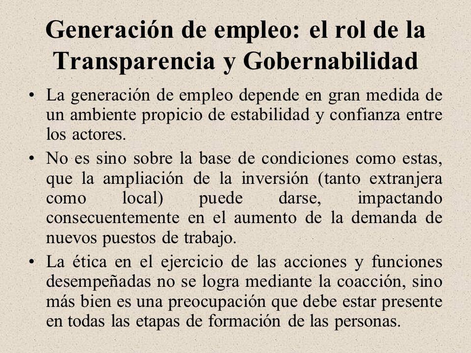 Generación de empleo: el rol de la Transparencia y Gobernabilidad La generación de empleo depende en gran medida de un ambiente propicio de estabilidad y confianza entre los actores.