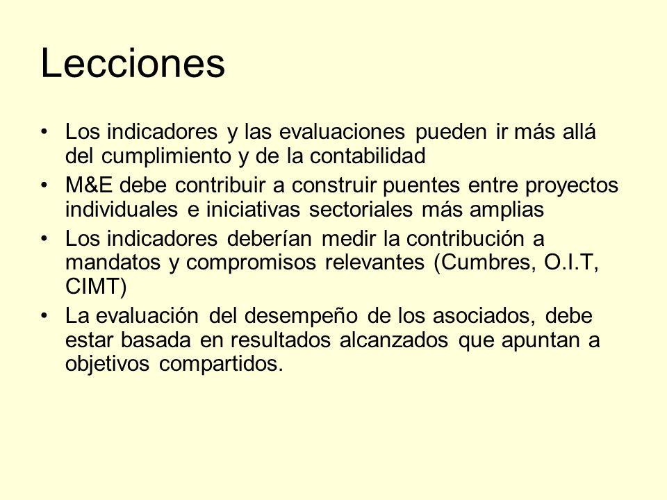 Lecciones Los indicadores y las evaluaciones pueden ir más allá del cumplimiento y de la contabilidad M&E debe contribuir a construir puentes entre proyectos individuales e iniciativas sectoriales más amplias Los indicadores deberían medir la contribución a mandatos y compromisos relevantes (Cumbres, O.I.T, CIMT) La evaluación del desempeño de los asociados, debe estar basada en resultados alcanzados que apuntan a objetivos compartidos.