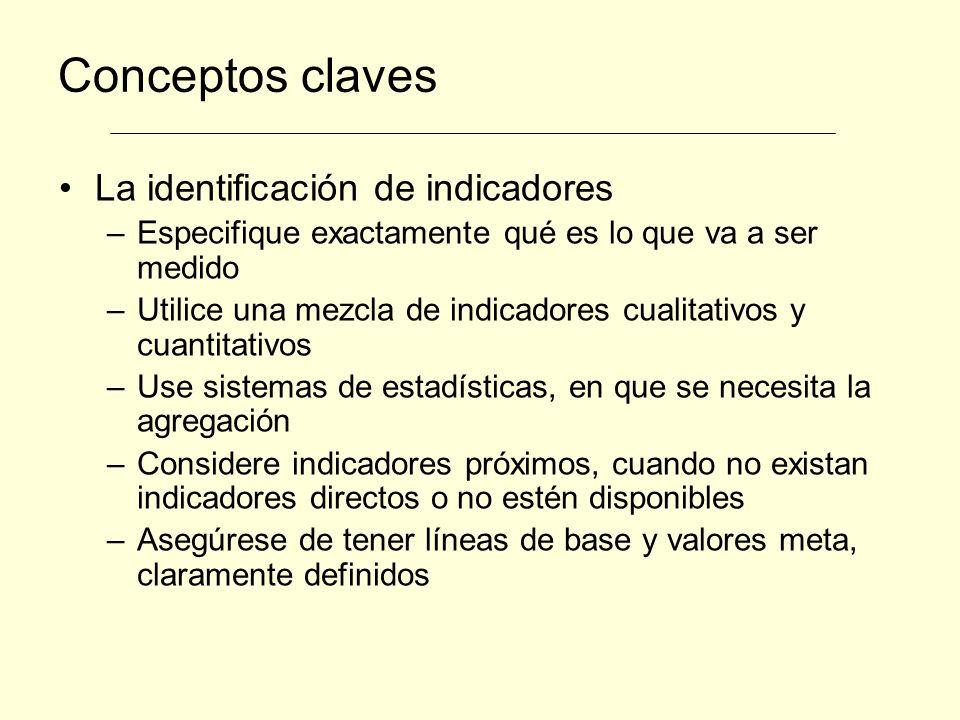 Conceptos claves La identificación de indicadores –Especifique exactamente qué es lo que va a ser medido –Utilice una mezcla de indicadores cualitativ