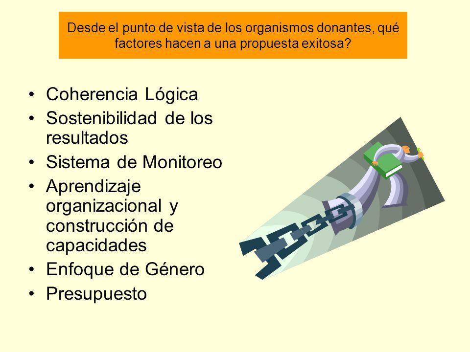 Desde el punto de vista de los organismos donantes, qué factores hacen a una propuesta exitosa? Coherencia Lógica Sostenibilidad de los resultados Sis
