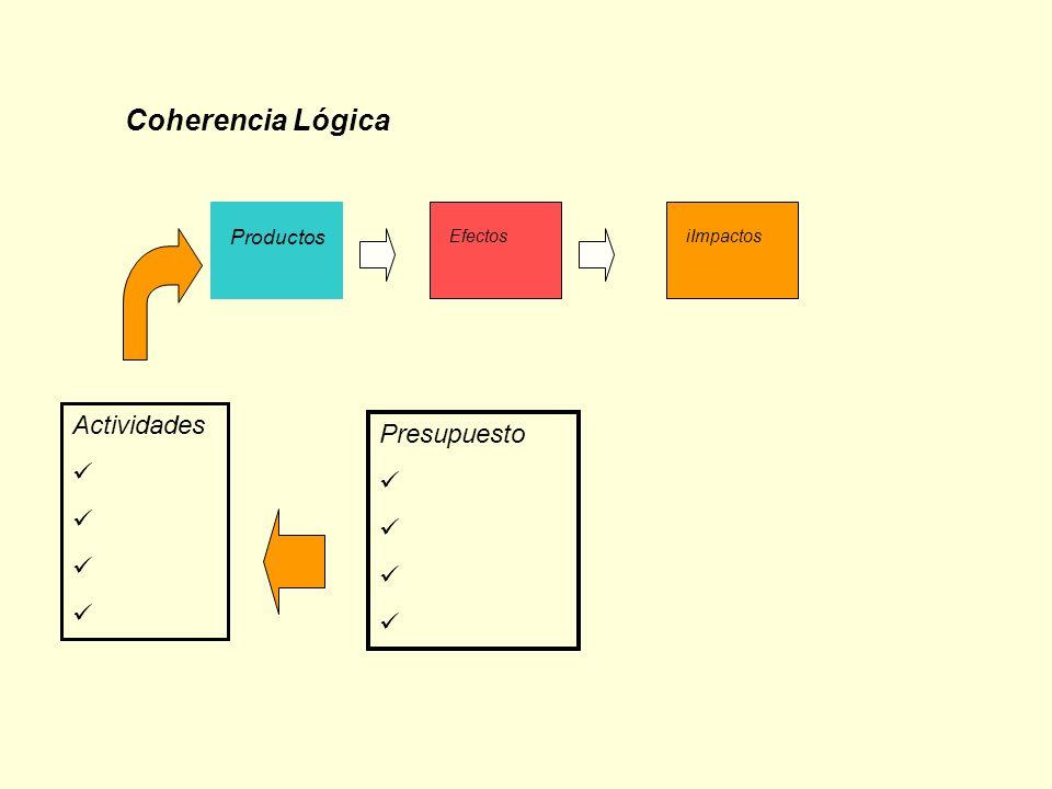 Coherencia Lógica Productos EfectosiImpactos Actividades Presupuesto