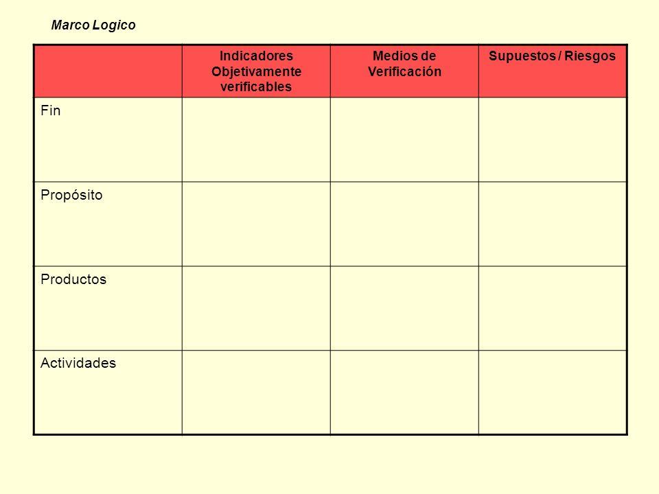 Indicadores Objetivamente verificables Medios de Verificación Supuestos / Riesgos Fin Propósito Productos Actividades Marco Logico