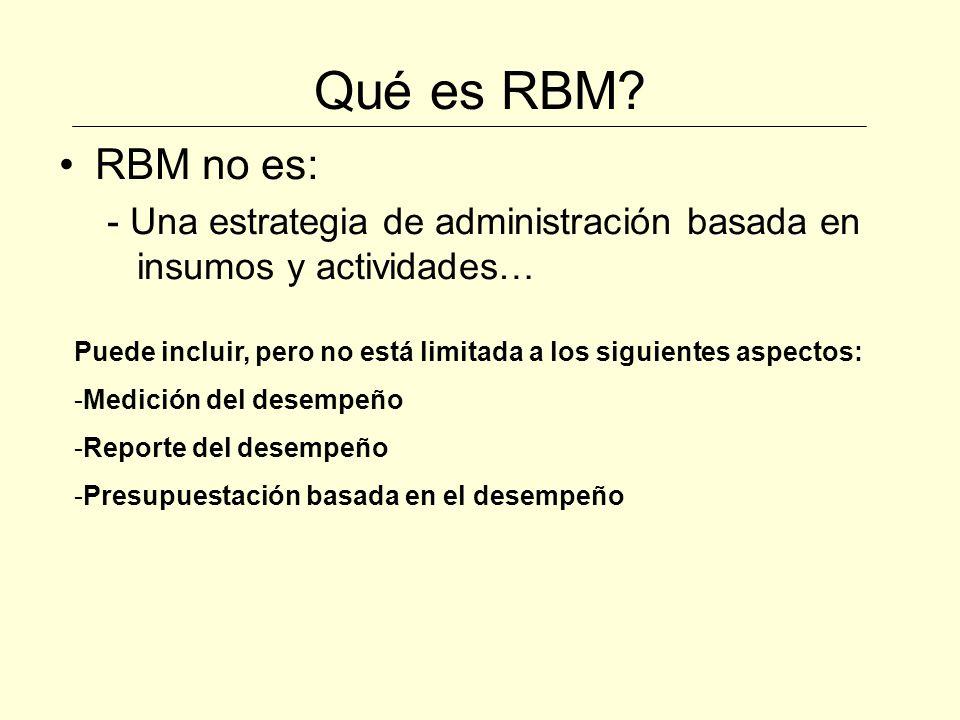 Qué es RBM? RBM no es: - Una estrategia de administración basada en insumos y actividades… Puede incluir, pero no está limitada a los siguientes aspec