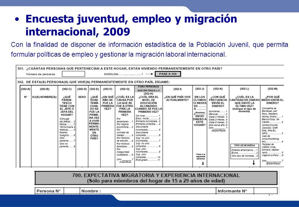 XVI REUNIÓN DEL COMITÉ INTERINSTITUCIONAL DE ESTADÍSTICAS DE MIGRACIONES 17 Encuesta juventud, empleo y migración internacional, 2009 Con la finalidad
