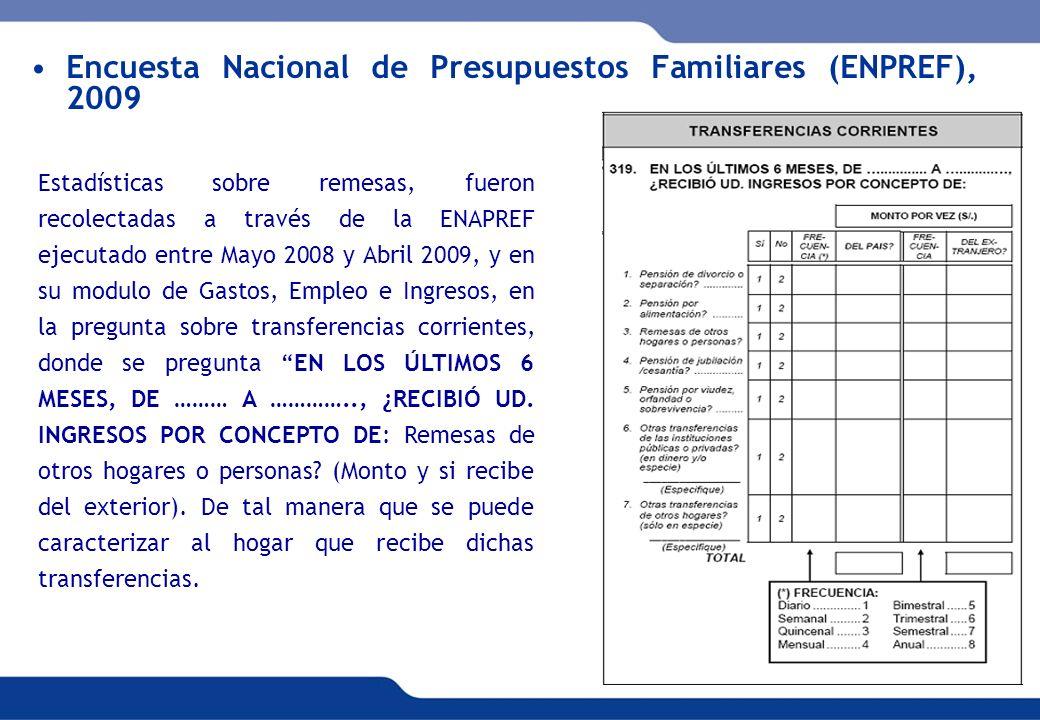 XVI REUNIÓN DEL COMITÉ INTERINSTITUCIONAL DE ESTADÍSTICAS DE MIGRACIONES 19 Encuesta Nacional de Presupuestos Familiares (ENPREF), 2009 Estadísticas s
