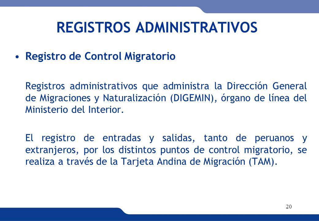 XVI REUNIÓN DEL COMITÉ INTERINSTITUCIONAL DE ESTADÍSTICAS DE MIGRACIONES 20 REGISTROS ADMINISTRATIVOS Registro de Control Migratorio Registros adminis