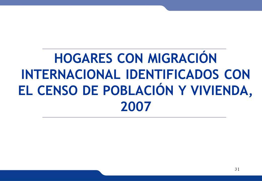 XVI REUNIÓN DEL COMITÉ INTERINSTITUCIONAL DE ESTADÍSTICAS DE MIGRACIONES 31 HOGARES CON MIGRACIÓN INTERNACIONAL IDENTIFICADOS CON EL CENSO DE POBLACIÓ
