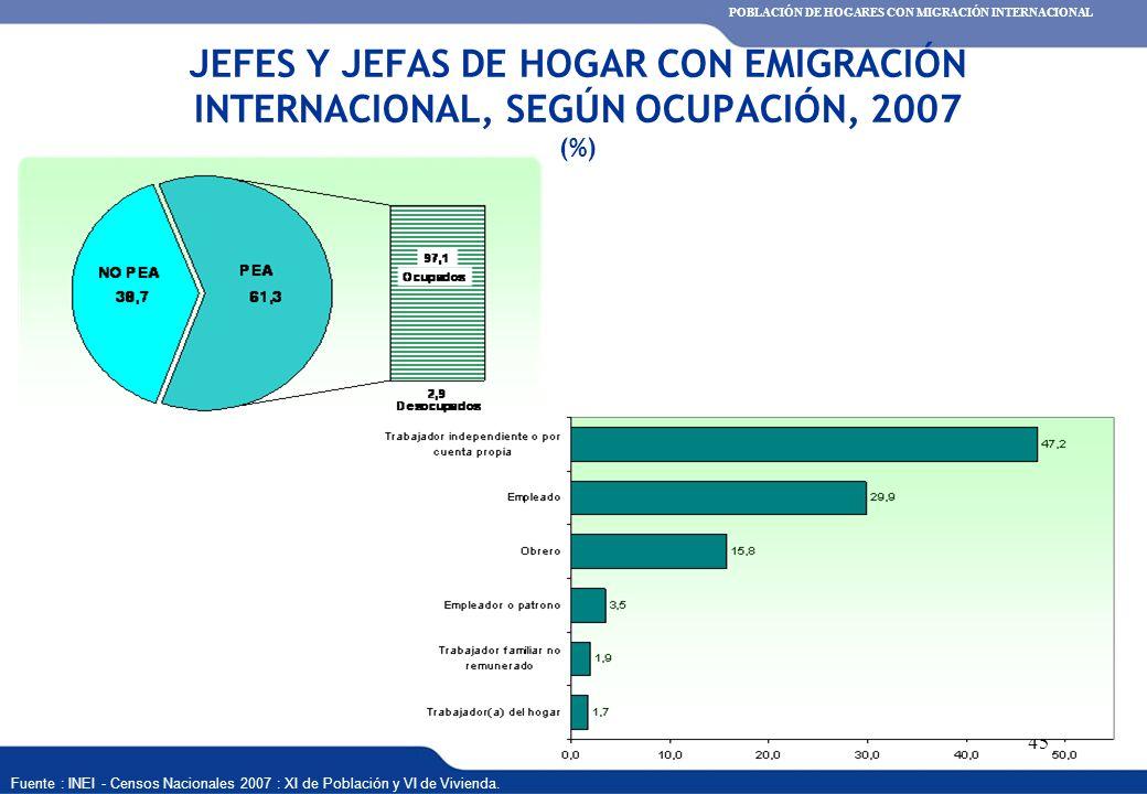 XVI REUNIÓN DEL COMITÉ INTERINSTITUCIONAL DE ESTADÍSTICAS DE MIGRACIONES 45 JEFES Y JEFAS DE HOGAR CON EMIGRACIÓN INTERNACIONAL, SEGÚN OCUPACIÓN, 2007