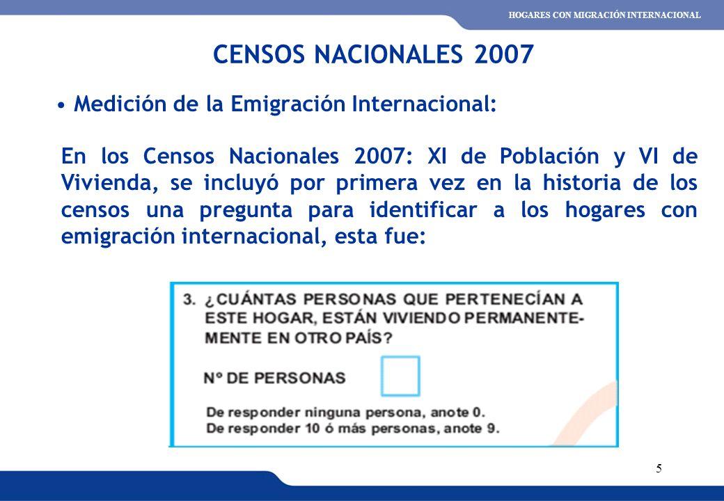 XVI REUNIÓN DEL COMITÉ INTERINSTITUCIONAL DE ESTADÍSTICAS DE MIGRACIONES 5 Medición de la Emigración Internacional: CENSOS NACIONALES 2007 HOGARES CON