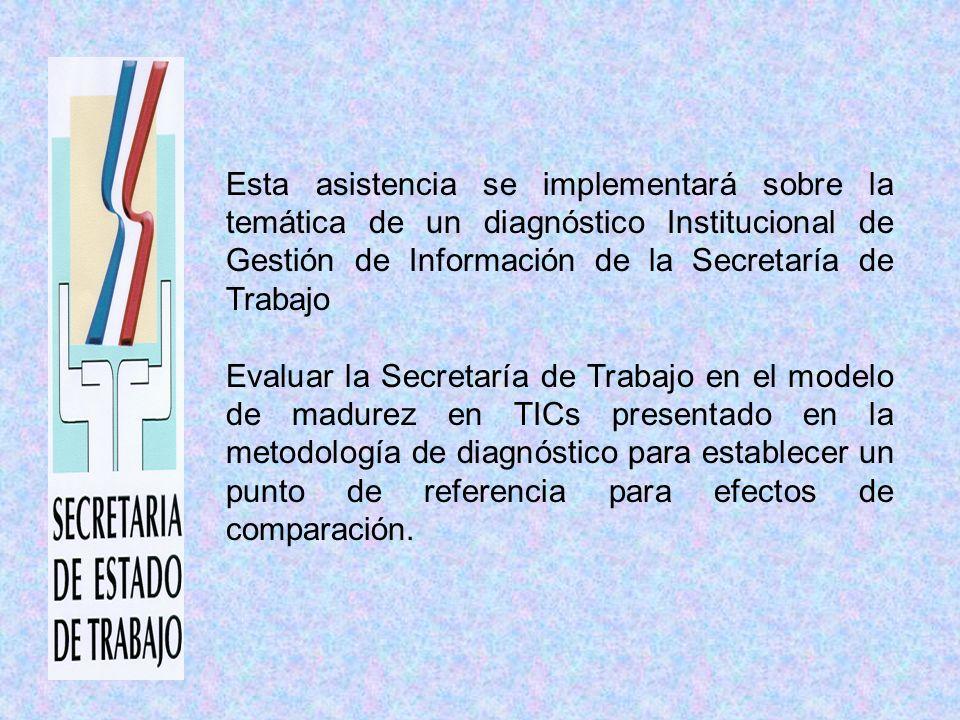 Esta asistencia se implementará sobre la temática de un diagnóstico Institucional de Gestión de Información de la Secretaría de Trabajo Evaluar la Secretaría de Trabajo en el modelo de madurez en TICs presentado en la metodología de diagnóstico para establecer un punto de referencia para efectos de comparación.