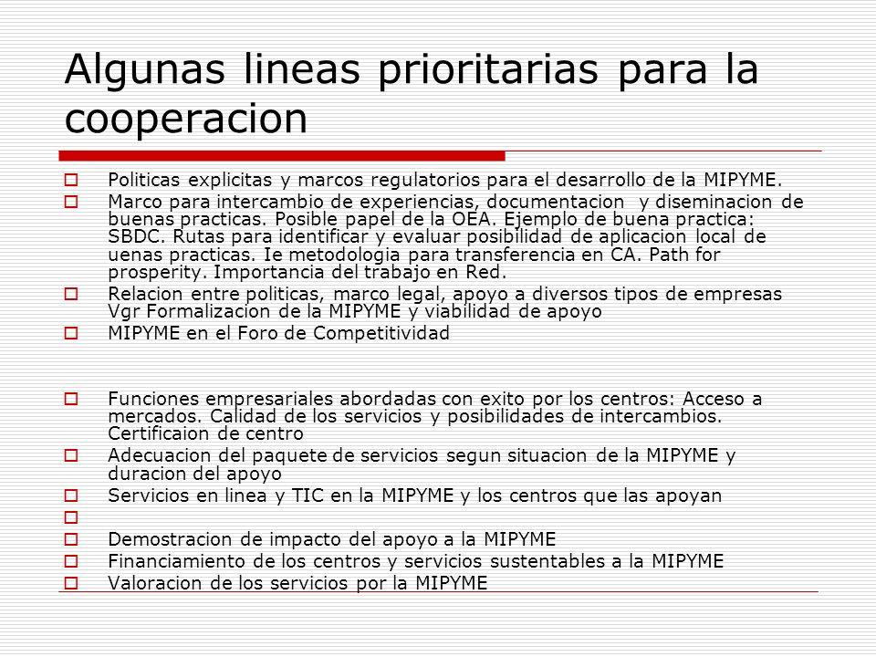 Algunas lineas prioritarias para la cooperacion Politicas explicitas y marcos regulatorios para el desarrollo de la MIPYME. Marco para intercambio de