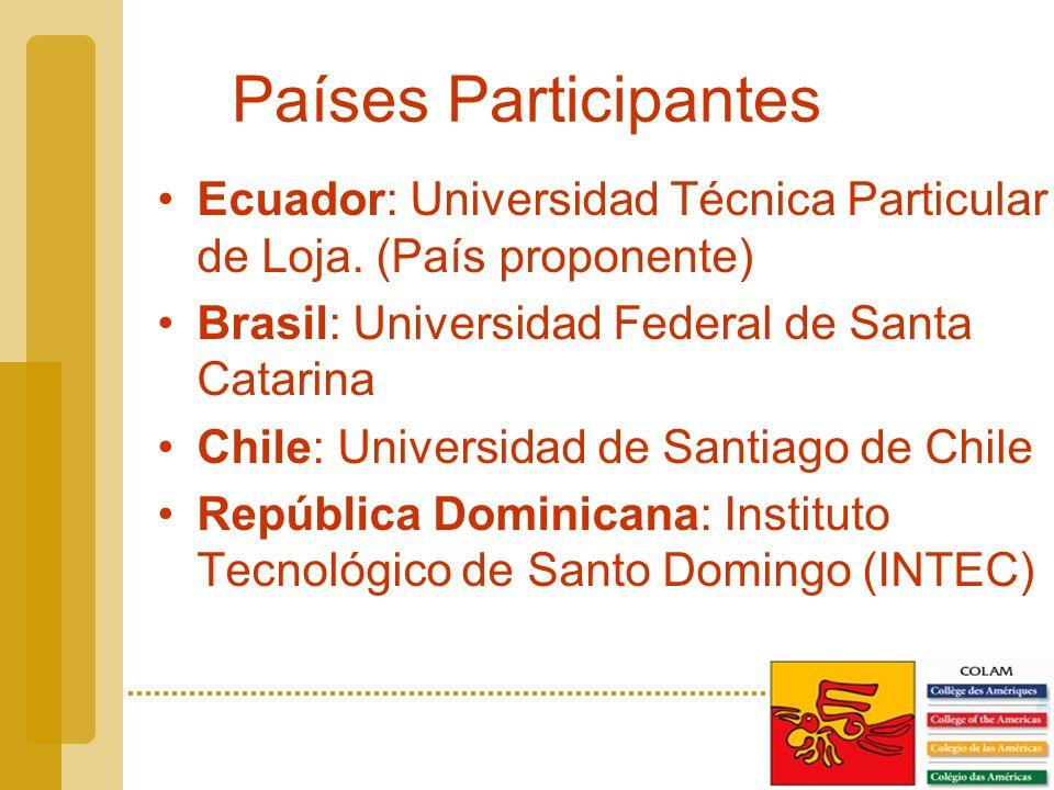 Países Participantes Ecuador: Universidad Técnica Particular de Loja.