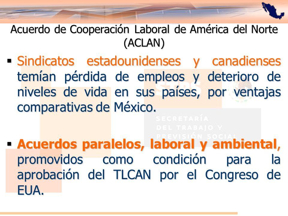 Acuerdo de Cooperación Laboral de América del Norte (ACLAN) Sindicatos estadounidenses y canadienses temían pérdida de empleos y deterioro de niveles