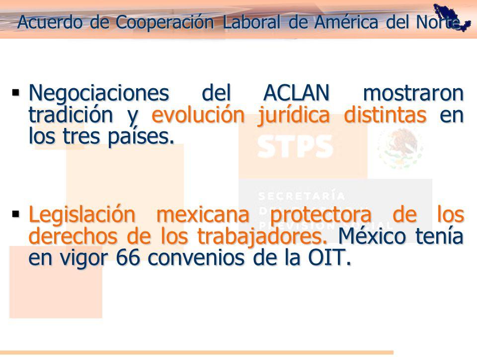 Acuerdo de Cooperación Laboral de América del Norte Negociaciones del ACLAN mostraron tradición y evolución jurídica distintas en los tres países. Neg
