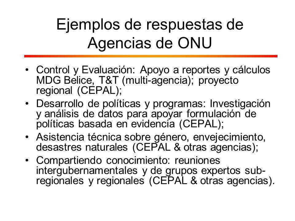 Control y Evaluación: Apoyo a reportes y cálculos MDG Belice, T&T (multi-agencia); proyecto regional (CEPAL); Desarrollo de políticas y programas: Inv