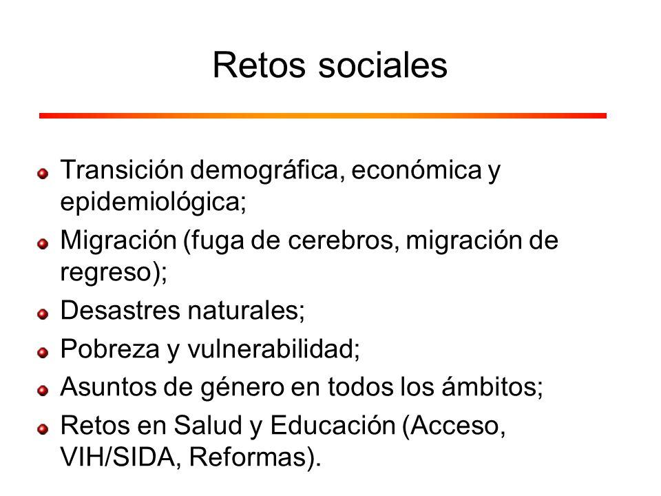 Retos sociales Transición demográfica, económica y epidemiológica; Migración (fuga de cerebros, migración de regreso); Desastres naturales; Pobreza y
