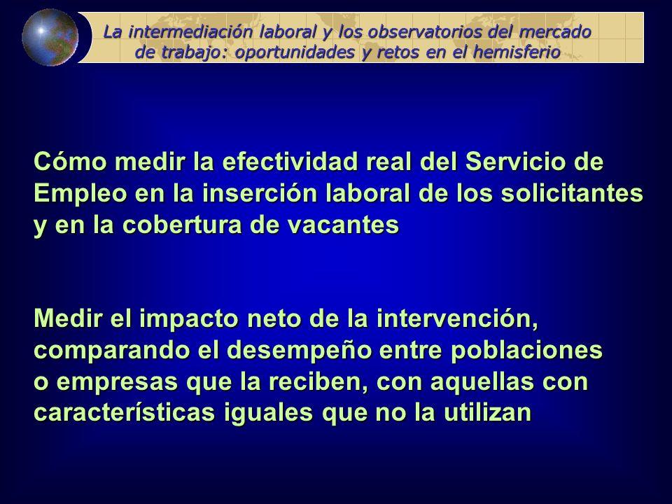 La intermediación laboral y los observatorios del mercado de trabajo: oportunidades y retos en el hemisferio Métodos experimentales: limitaciones para asignar aleatoriamente los apoyos a poblaciones o empresas que los solicitan.