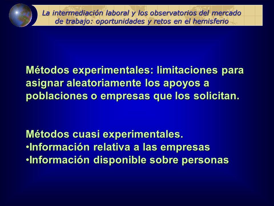 La intermediación laboral y los observatorios del mercado de trabajo: oportunidades y retos en el hemisferio Métodos experimentales: limitaciones para