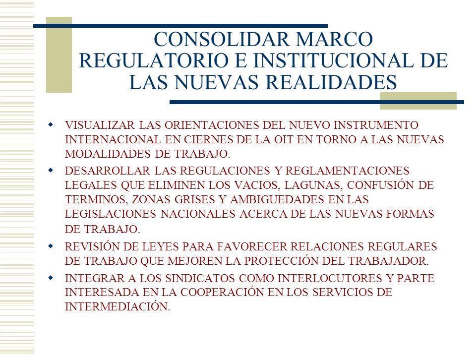 HACIA UNA REFORMA INTEGRAL DE LOS SERVICIOS DE INTERMEDIACIÓN EN A.L. GENERAR UN MODELO INSTITUCIONAL DE INTERMEDIACIÓN QUE FOMENTE EL EMPLEO PROTEGIE