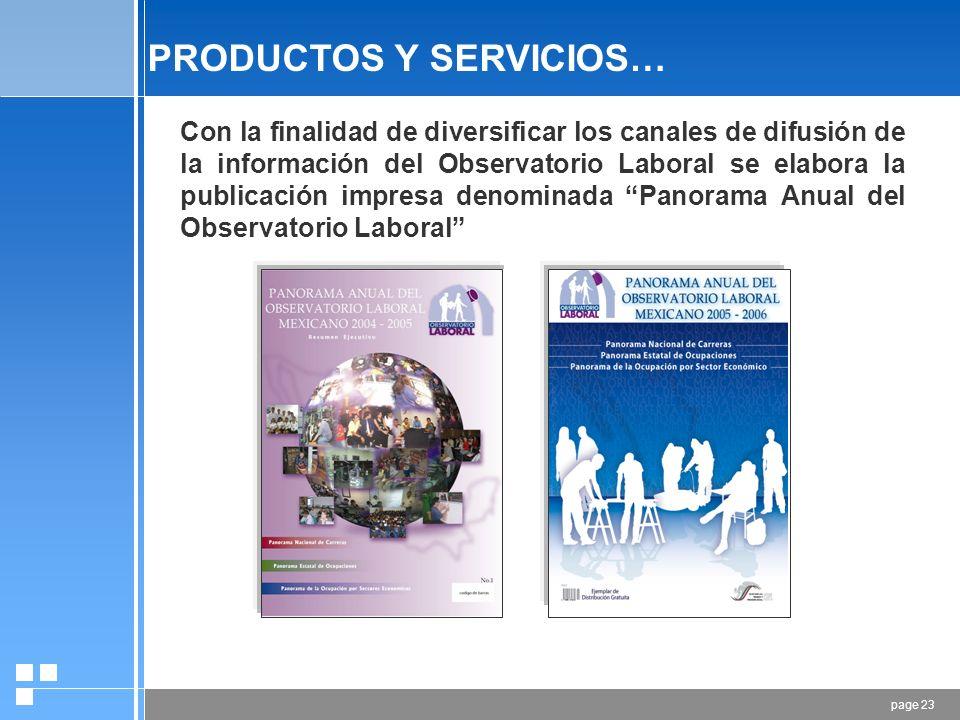 page 22 PRODUCTOS Y SERVICIOS… SERVICIOS QUE PROPORCIONA EL OLA32 CARRERAS ANALIZADAS 53 OCUPACIONES ANALIZADAS 600 REPORTES DINÁMICOS Y GRÁFICOS 15,000 ACTUALIZACIONES TRIMESTRALES 4 SOCIOS INSTITUCIONALES 12 VISITAS AL PORTAL 1,025,000