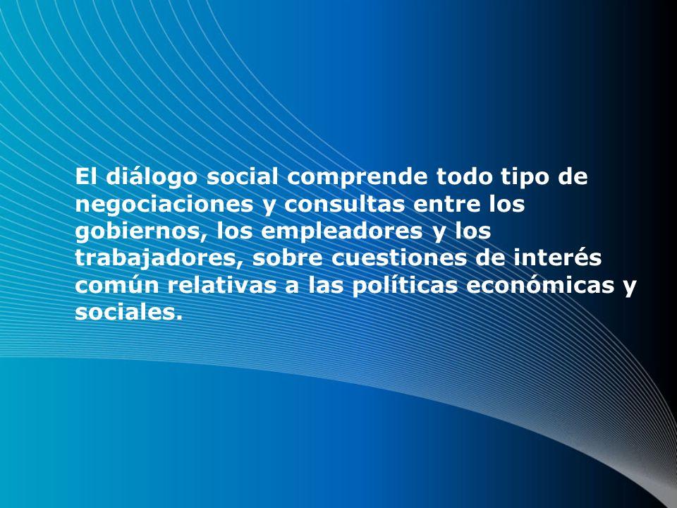 El diálogo social comprende todo tipo de negociaciones y consultas entre los gobiernos, los empleadores y los trabajadores, sobre cuestiones de interés común relativas a las políticas económicas y sociales.