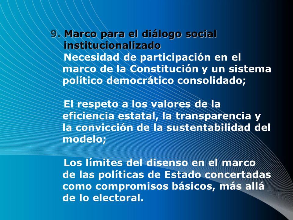 9.Marco para el diálogo social institucionalizado 9.