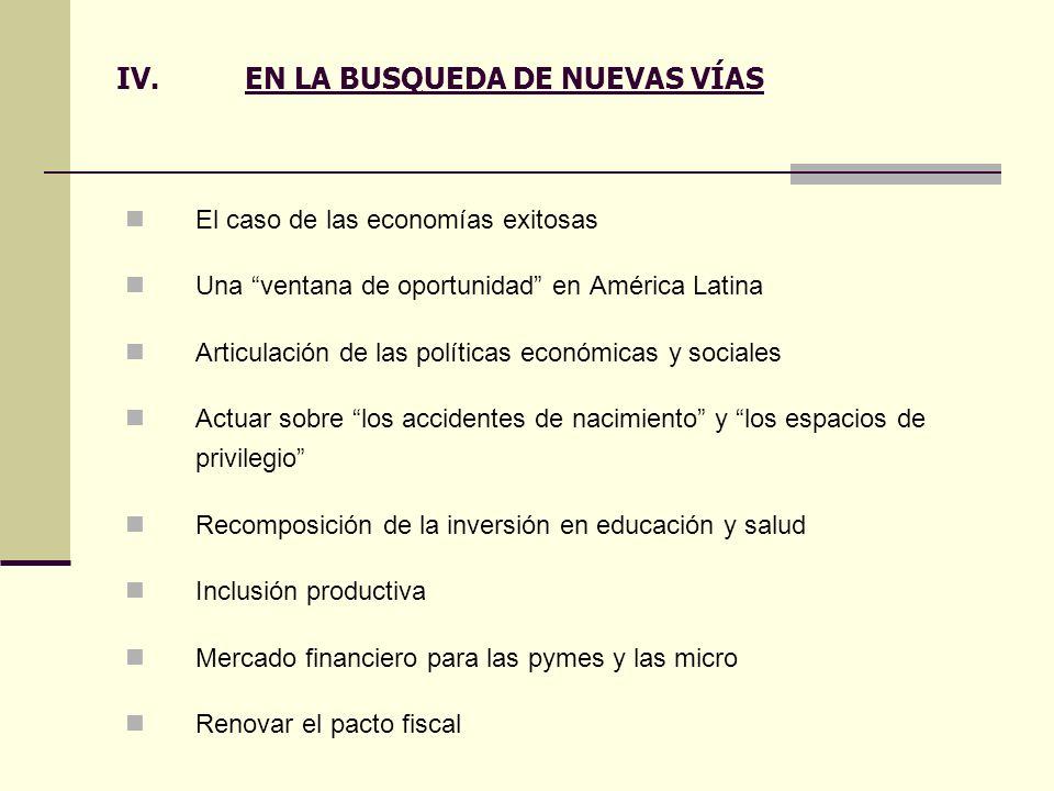 IV.EN LA BUSQUEDA DE NUEVAS VÍAS El caso de las economías exitosas Una ventana de oportunidad en América Latina Articulación de las políticas económic