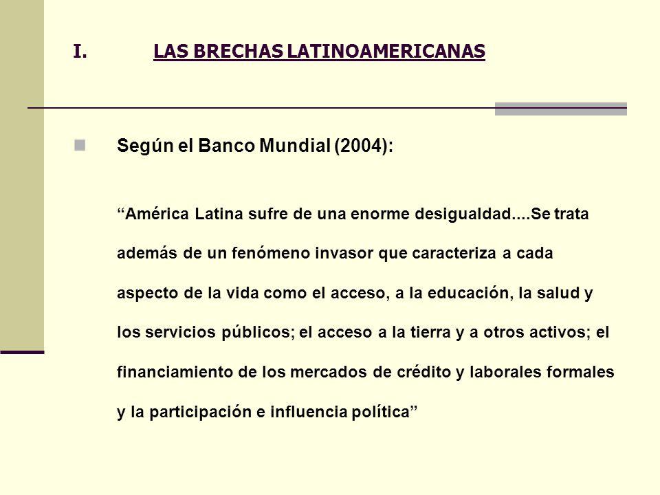 I.LAS BRECHAS LATINOAMERICANAS Según el Banco Mundial (2004): América Latina sufre de una enorme desigualdad....Se trata además de un fenómeno invasor