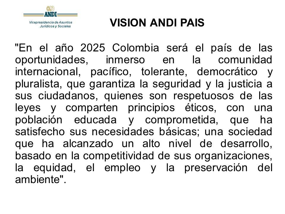 Vicepresidencia de Asuntos Jurídicos y Sociales En el año 2025 Colombia será el país de las oportunidades, inmerso en la comunidad internacional, pacífico, tolerante, democrático y pluralista, que garantiza la seguridad y la justicia a sus ciudadanos, quienes son respetuosos de las leyes y comparten principios éticos, con una población educada y comprometida, que ha satisfecho sus necesidades básicas; una sociedad que ha alcanzado un alto nivel de desarrollo, basado en la competitividad de sus organizaciones, la equidad, el empleo y la preservación del ambiente .