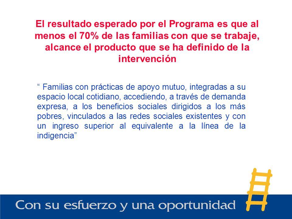 El resultado esperado por el Programa es que al menos el 70% de las familias con que se trabaje, alcance el producto que se ha definido de la interven