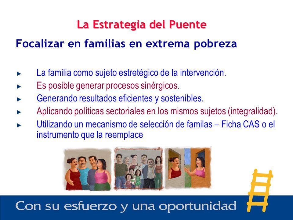 La Estrategia del Puente Focalizar en familias en extrema pobreza La familia como sujeto estretégico de la intervención. Es posible generar procesos s