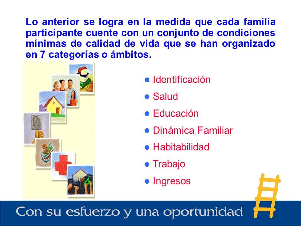 Lo anterior se logra en la medida que cada familia participante cuente con un conjunto de condiciones mínimas de calidad de vida que se han organizado en 7 categorías o ámbitos.