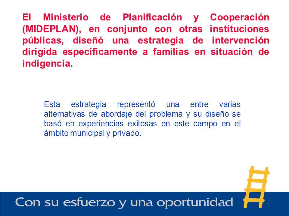 El Ministerio de Planificación y Cooperación (MIDEPLAN), en conjunto con otras instituciones públicas, diseñó una estrategia de intervención dirigida específicamente a familias en situación de indigencia.