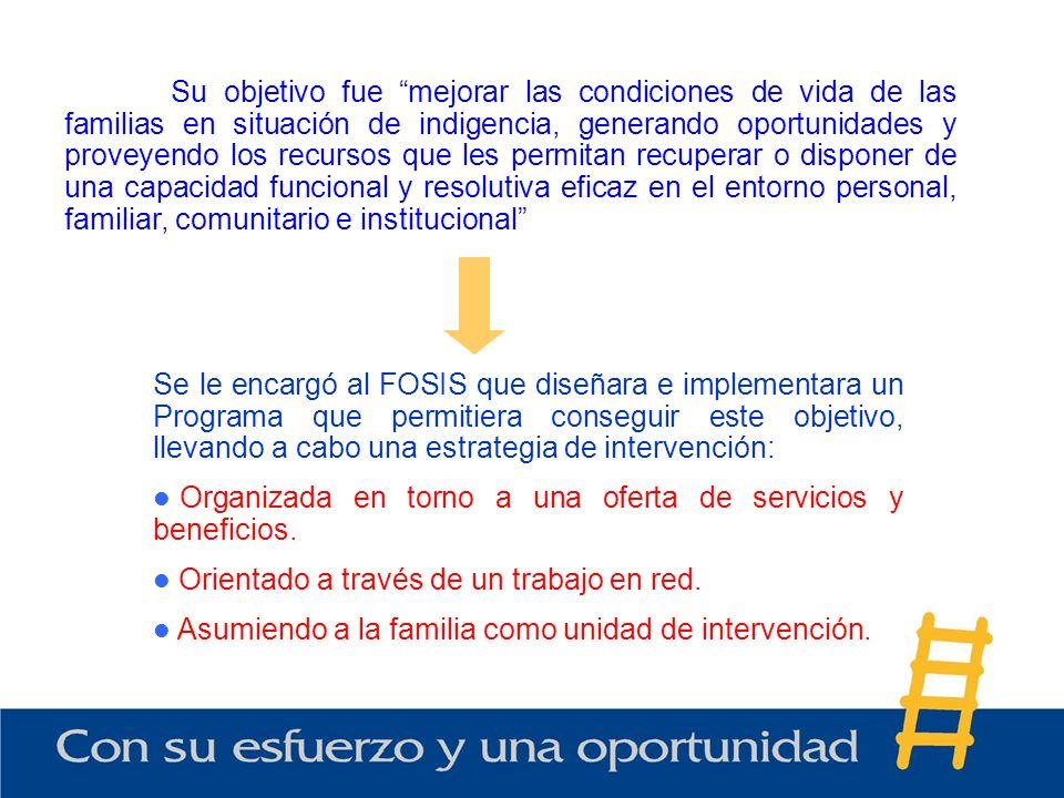 Se le encargó al FOSIS que diseñara e implementara un Programa que permitiera conseguir este objetivo, llevando a cabo una estrategia de intervención: Organizada en torno a una oferta de servicios y beneficios.