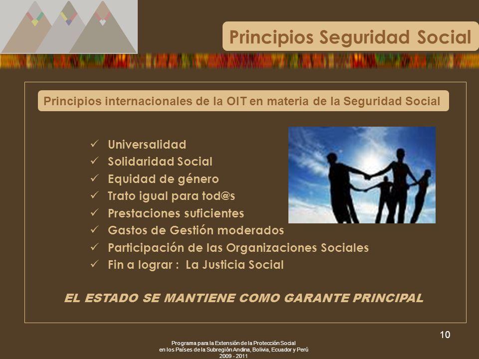 Programa para la Extensión de la Protección Social en los Países de la Subregión Andina, Bolivia, Ecuador y Perú 2009 - 2011 10 Principios internacion