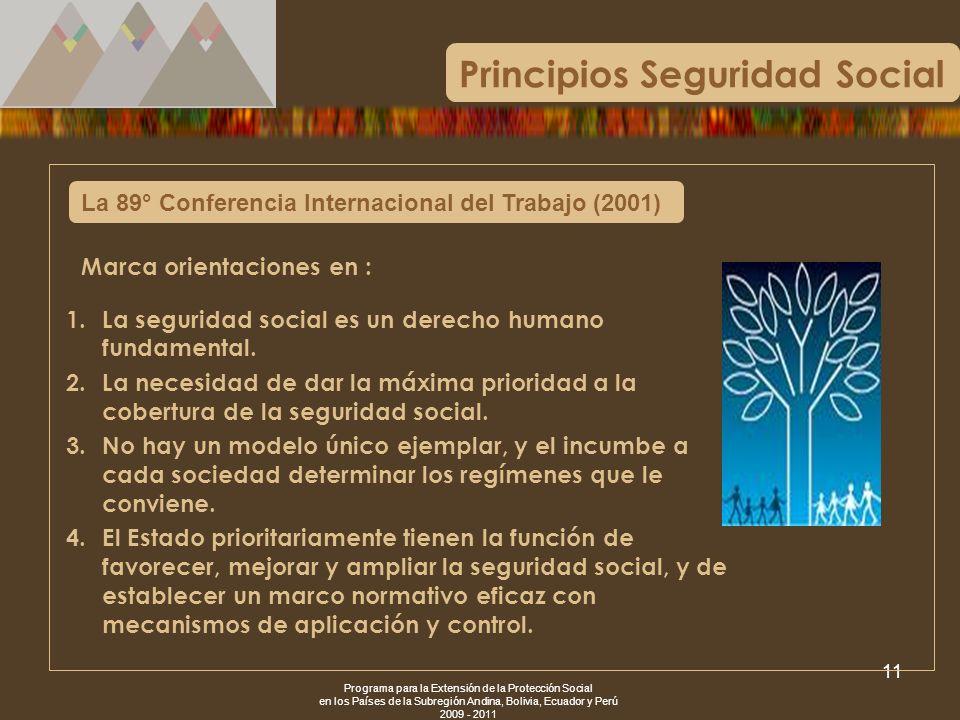 Programa para la Extensión de la Protección Social en los Países de la Subregión Andina, Bolivia, Ecuador y Perú 2009 - 2011 11 La 89° Conferencia Int