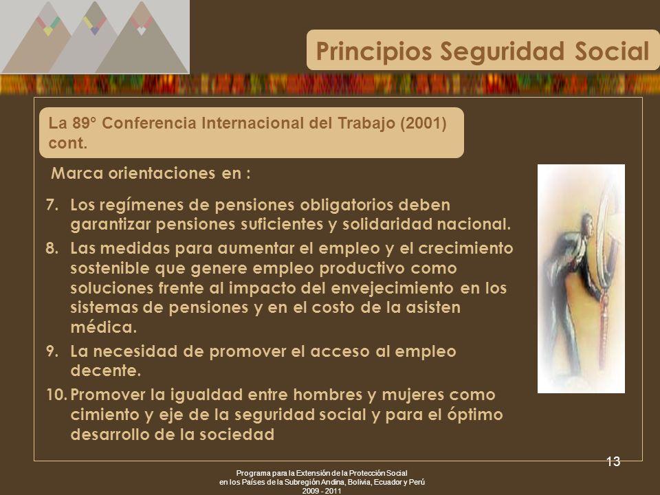Programa para la Extensión de la Protección Social en los Países de la Subregión Andina, Bolivia, Ecuador y Perú 2009 - 2011 13 La 89° Conferencia Int