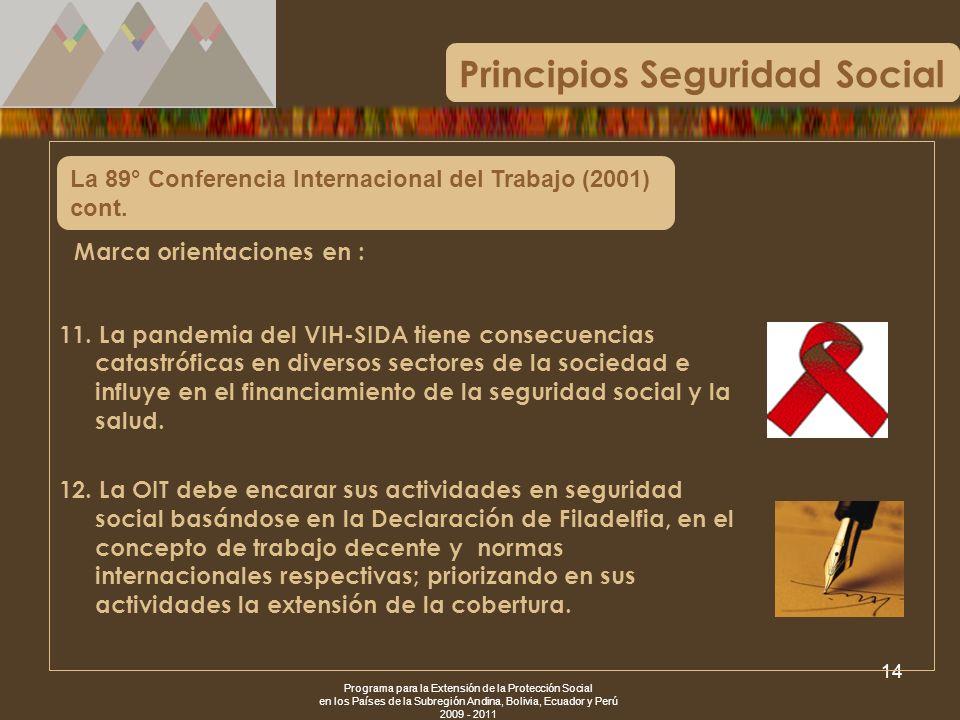 Programa para la Extensión de la Protección Social en los Países de la Subregión Andina, Bolivia, Ecuador y Perú 2009 - 2011 14 La 89° Conferencia Int