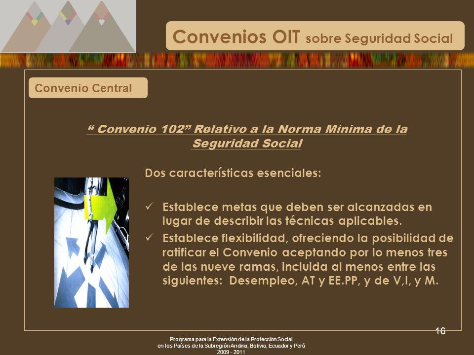 Programa para la Extensión de la Protección Social en los Países de la Subregión Andina, Bolivia, Ecuador y Perú 2009 - 2011 16 Convenio Central Conve