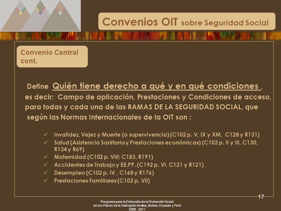 Programa para la Extensión de la Protección Social en los Países de la Subregión Andina, Bolivia, Ecuador y Perú 2009 - 2011 17 Convenio Central cont.